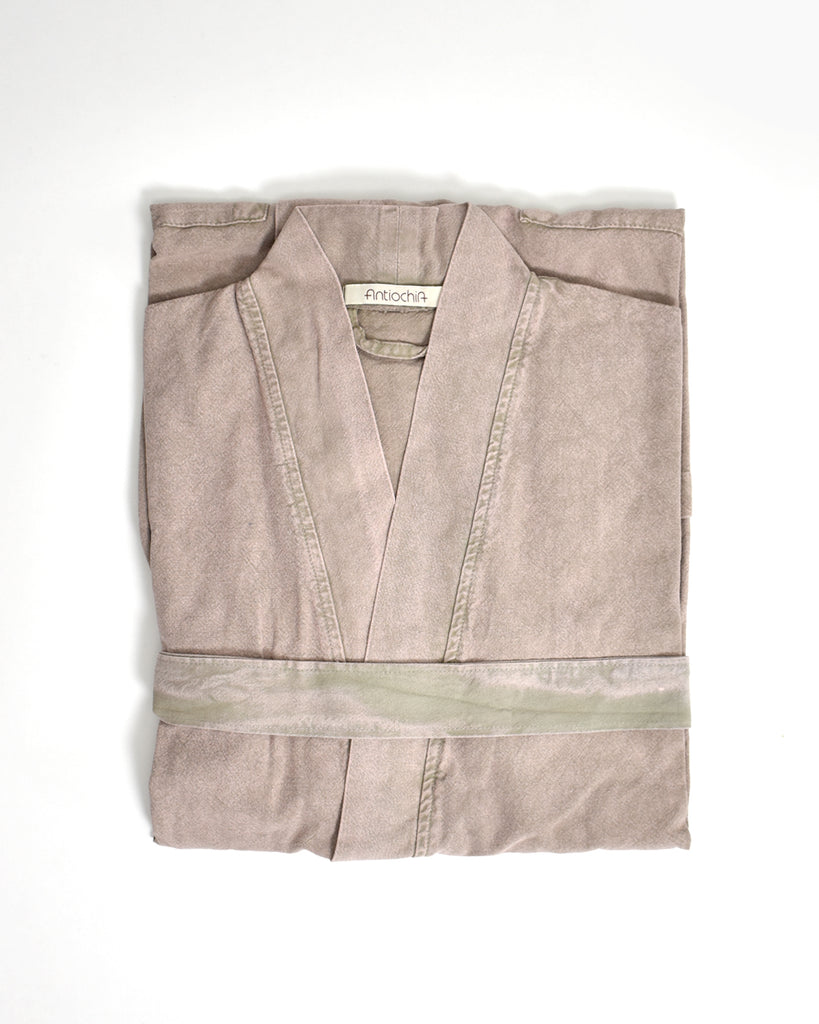 Stonewashed Cotton Robe – Beige