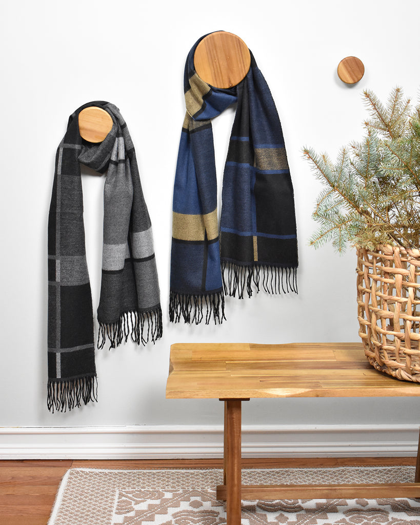Color Block Scarf – Blue & Tan