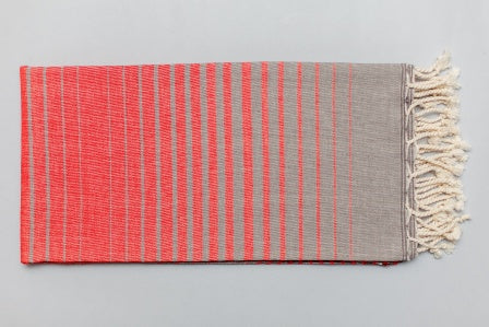 Illusion Turkish Bath Towel red and grey