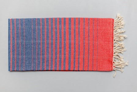 Illusion Turkish Bath Towel - blue and red