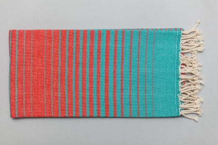 Illusion Turkish Bath Towel red and teal