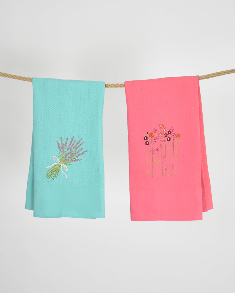 Embroidered Kitchen Towel Set – Flowers