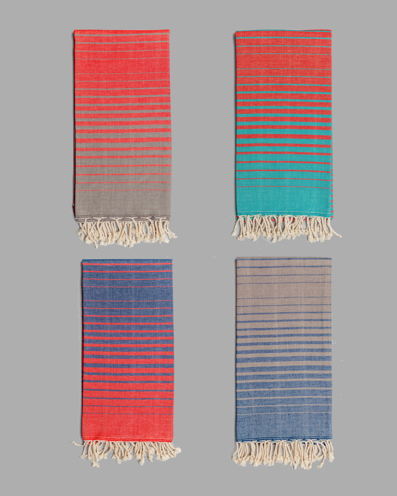 Illusion Bath Towel - Multicolor on ecru base
