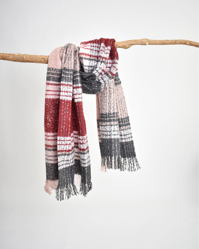 Plaid Bouclé Scarf – Dark Red & Grey