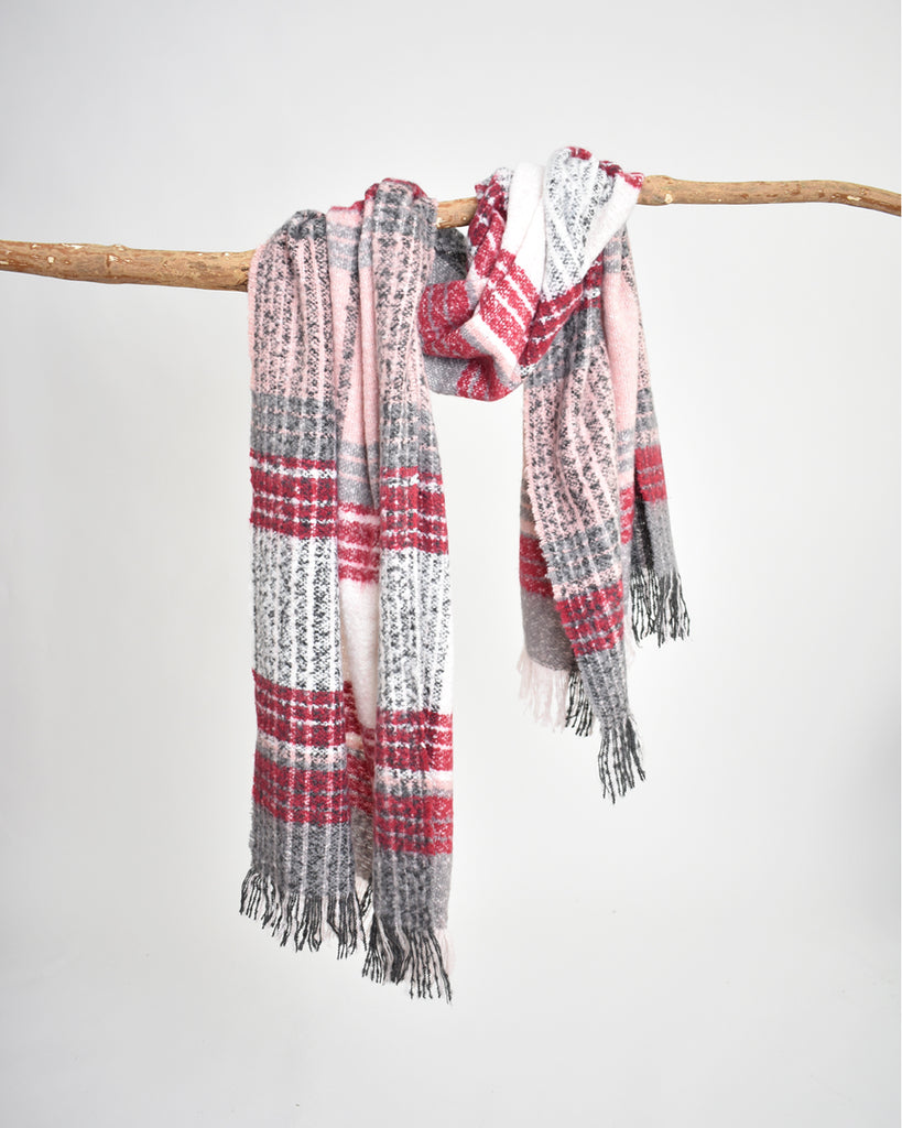 Plaid Bouclé Scarf – Grey & Red