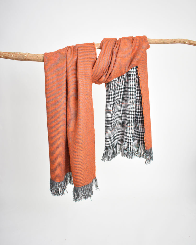 Reversible Houndstooth Plaid Scarf – Orange