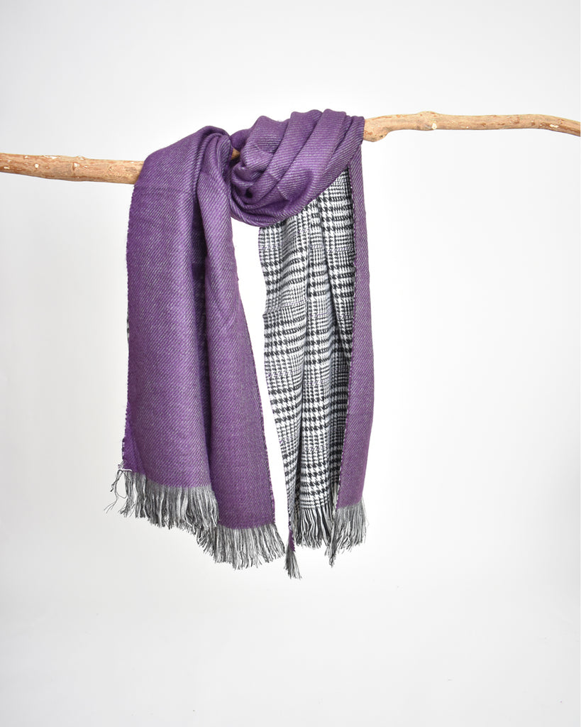Reversible Houndstooth Plaid Scarf – Purple