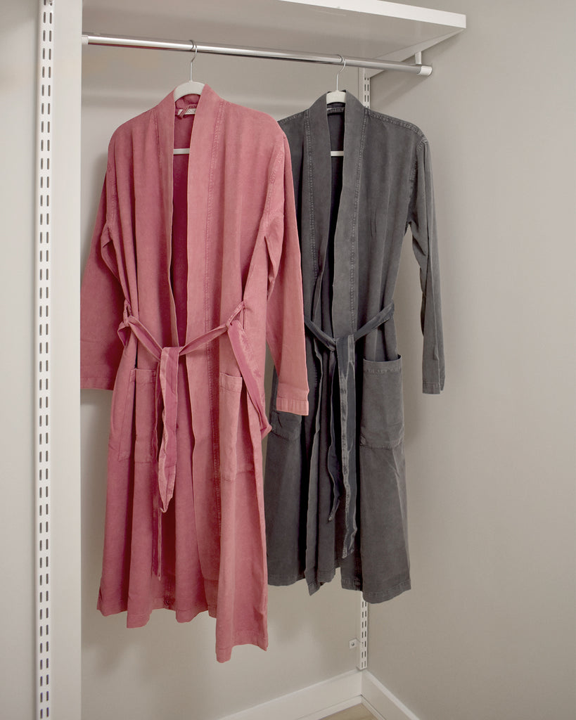Stonewashed Cotton Robe – Rose