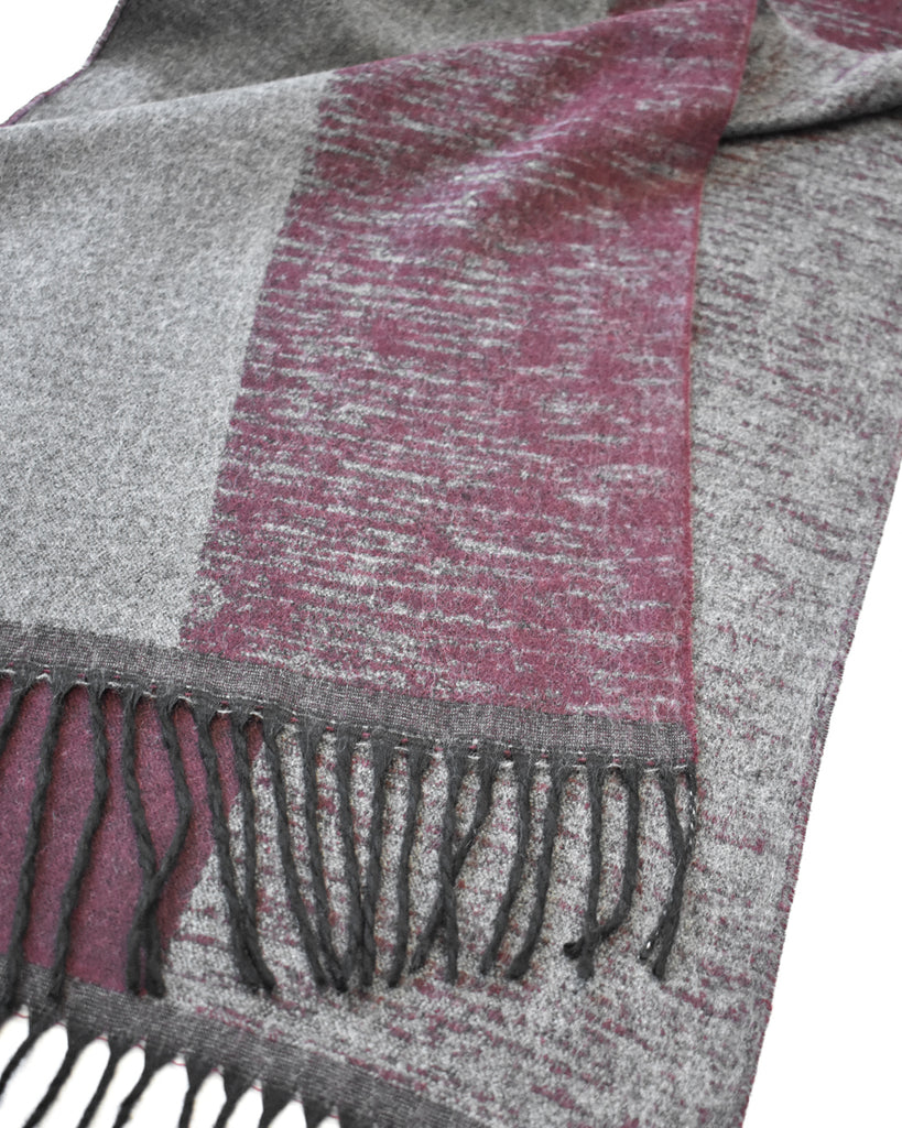 Wide Stripe Scarf – Maroon & Grey