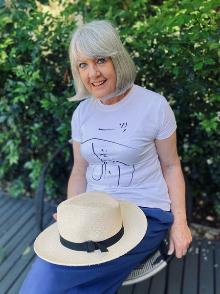 Dr Elizabeth Hartnell-Young wears the Purposeful Organic Cotton T-Shirt for International Women's Day