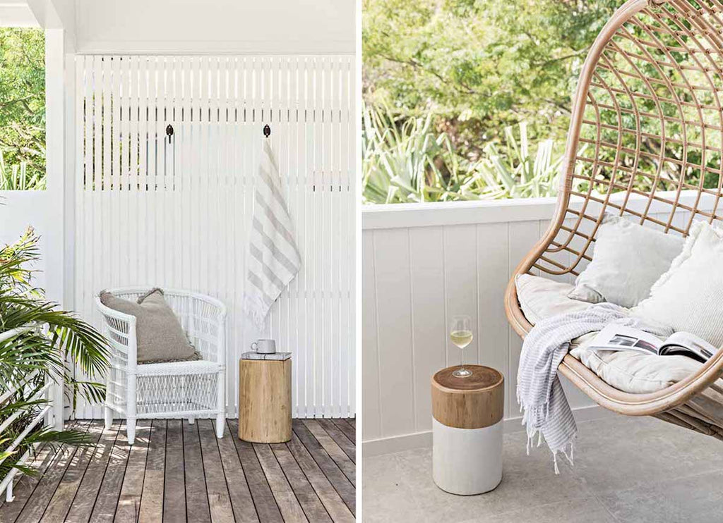 The rattan hanging chair and patio at The Cape Beach House in Byron Bay featuring Eadie Lifestyle