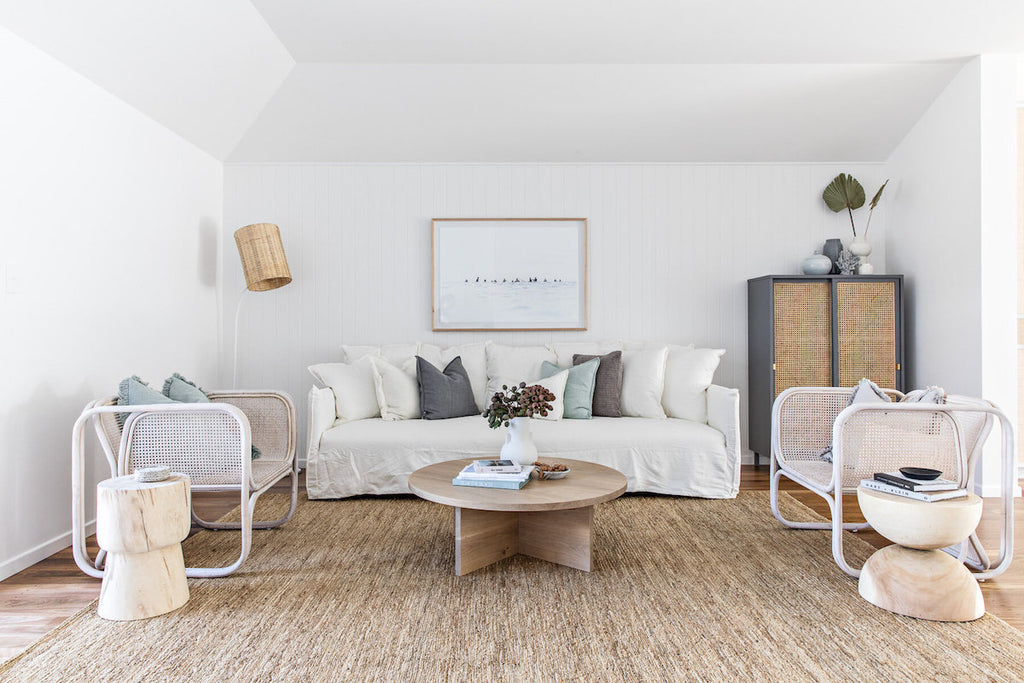 The natural textures and tones in the living space at The Cape Beach House in Byron Bay featuring Eadie Lifestyle