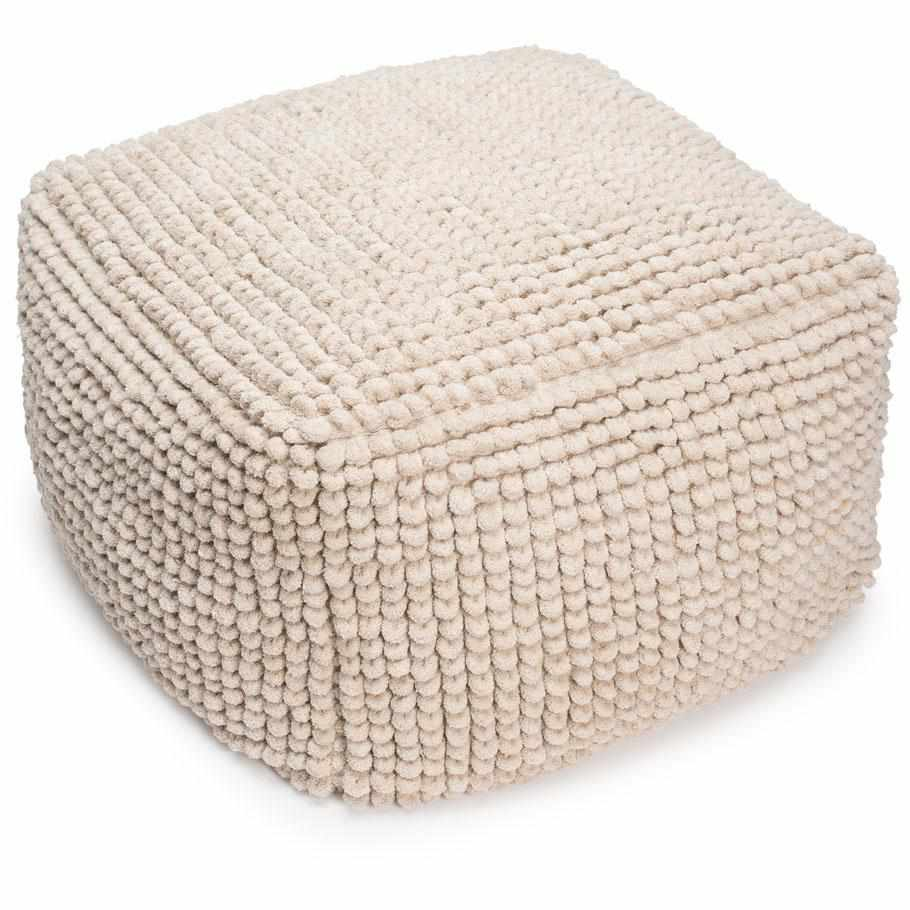 Gray Artisan Large Square Ottoman Cover Natural