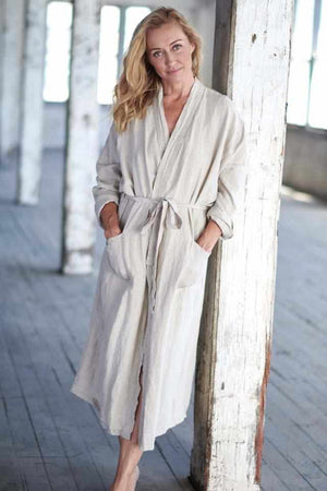 White Smoke The Linen Robe - Natural Natural / OSFA