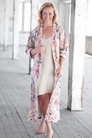 White Smoke The Posy Linen Robe OSFA / Rose Floral