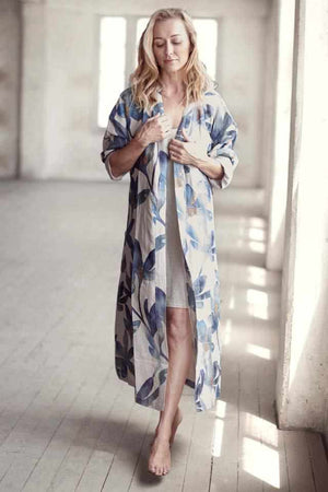 Gray The Tulip Linen Robe OSFA / Blue Floral