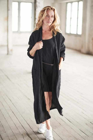 Dark Slate Gray The Linen Robe - Black Black / OSFA