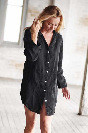 Beige The Essential Linen Shirt - Black Black / S/M,Black / M/L,Black / XL
