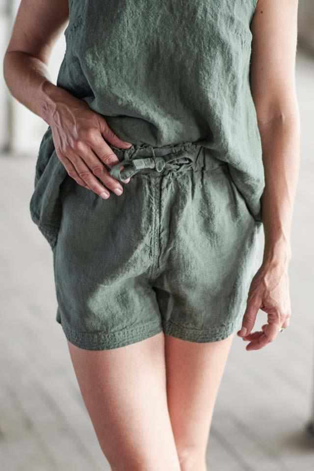 Dark Slate Gray The Linen Shorts - Khaki Khaki / S/M,Khaki / M/L