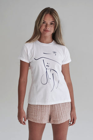 Eadie Lifestyle Purposeful Organic T-Shirt in White featuring the peru Drawing for International Women's Day