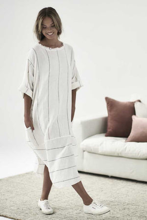 White with charcoal stripe Carter Linen Malle Dress