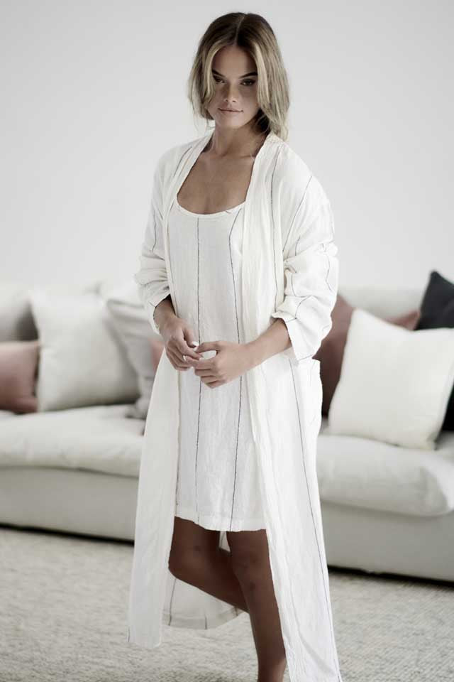 White with charcoal stripe Carter Linen Robe layered over the Carter Linen Slip Dress