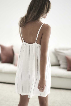 White with charcoal stripe Carter Linen Slip Dress back view
