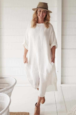 The Malle Linen Dress - White