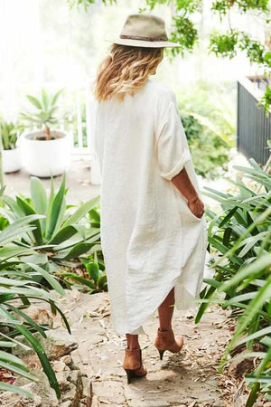 Antique White The Malle Linen Dress - White White / OSFA