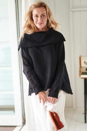 The Linen Baron Top - Black