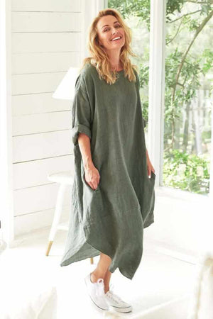 White Smoke The Malle Linen Dress - Khaki Khaki / OSFA