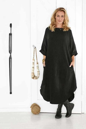 The Malle Linen Dress - Black