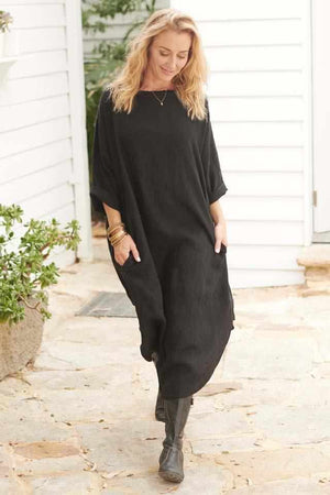 Seashell The Malle Linen Dress - Black Black / OSFA