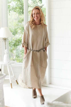 Rosy Brown The Malle Linen Dress - Natural Natural / OSFA