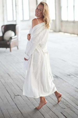 The Linen Robe - White