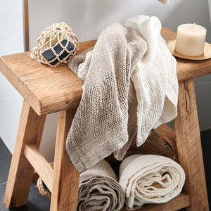 Mayla 100% Hand Woven Linen Hand Towels (set of 2) - Ivory