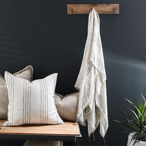 Eadie Lifestyle's Rockpool Linen Throw with leather tassel