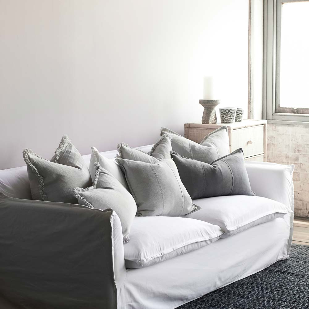 Luca linen cushions and luca boho cushions on a sofa