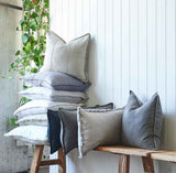 Luca linen cushions and luca boho cushions on a bench seat