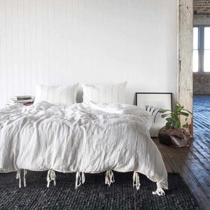 Euro Linen White Stripe Carter Quilt Cover Set