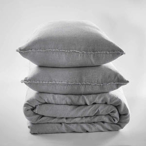 Slate Euro linen quilt cover and linen pillow cases