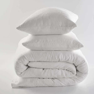White Euro linen quilt cover and linen pillow cases