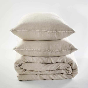 Euro linen natural quilt cover and linen pillow cases