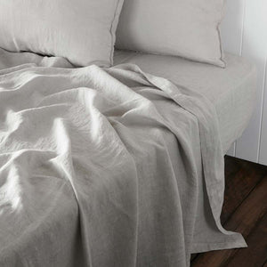 French Linen Fitted Sheet - Silver Grey
