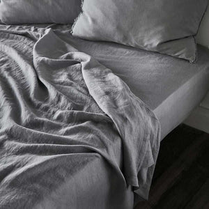 Slate Euro Linen Fitted Sheet and Linen Flat Sheet Set