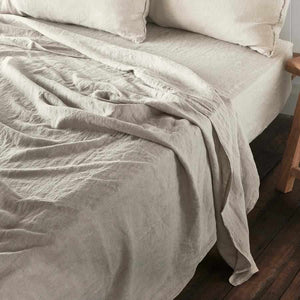 Natural Euro Linen Flat Sheet and Fitted Sheet Set