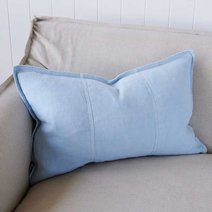 Luca Linen Cushion in soft blue crafted from 100% pre washed linen