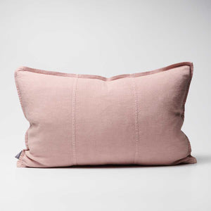 Luca Linen Cushion in musk crafted from 100% pre washed linen