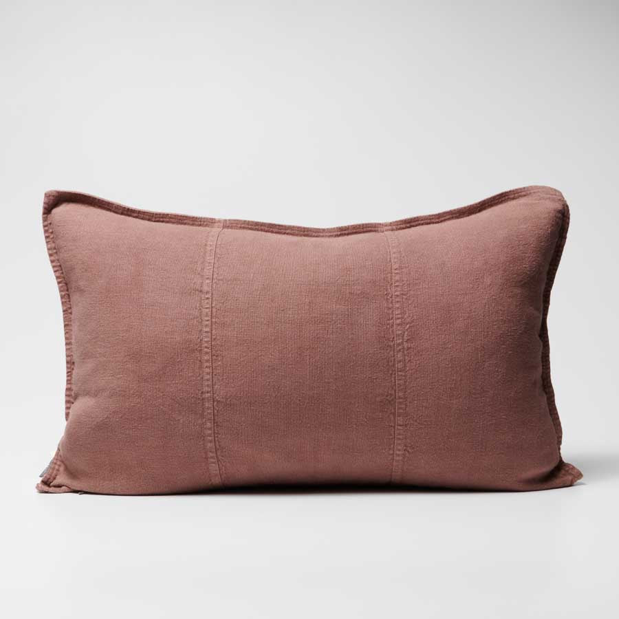 uca Linen Cushion in Desert Rose colour crafted from 100% pre washed linen