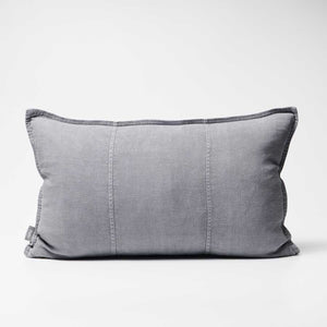 Luca Linen Cushion in slate crafted from 100% pre washed linen